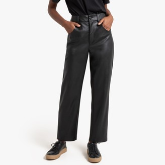 La Redoute Collections Faux Leather Straight Trousers, Length 25.5""