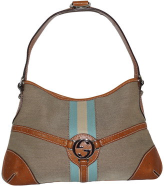 Gucci Taupe/Tan Canvas Leather Trim Hobo