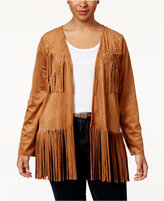 American Rag Trendy Plus Size Fringe Faux-Suede Jacket, Only at Macy's