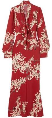 McQ Pussy-bow Printed Crepe De Chine Maxi Dress