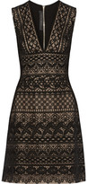 Elie Saab Guipure Lace And Cady Mini Dress - Black