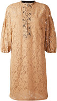 Nude three-quarter sleeve lace dress - women - Cotton/Polyester - 38