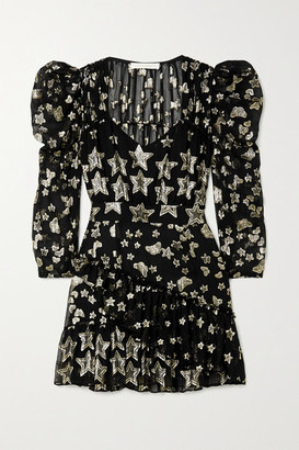 LoveShackFancy Caden Ruffled Metallic Fil Coupe Crepon Mini Dress - Black