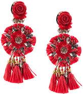 Ranjana Khan clip-on floral tassel earrings