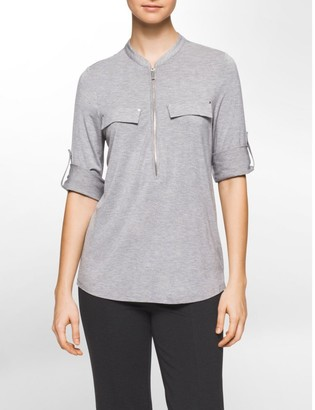 Calvin Klein Zip Front Roll-Up 3/4 Sleeve Top
