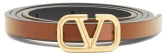 Valentino Logo-buckle Reversible-leather Belt - Tan Multi