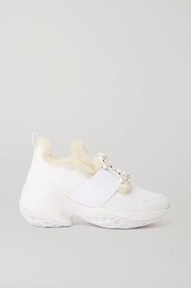 Roger Vivier Viv' Run Crystal-embellished Shearling-trimmed Leather Sneakers - White
