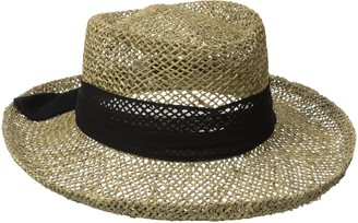 San Diego Hat Company Women's Seagrass Gambler with Poly Chiffon Band