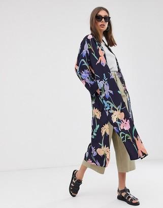 Weekday floral print kimono jacket in navy-Multi