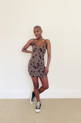 Topshop TALL Khaki Palm Print Tunic Dress