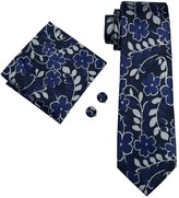 Hi Tie Hi-Tie Men's Exquisite Blue Floral Necktie Set Formal