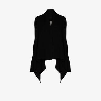 Rick Owens Asymmetric Cashmere Wool Cardigan