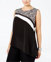 Calvin Klein Plus Size Colorblocked Asymmetrical Top