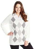 Caribbean Joe Women's Plus-Size Long-Sleeve Argyle V-Neck Sweater