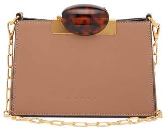 Marni Tortoiseshell-effect Clasp Leather Shoulder Bag - Womens - Beige