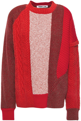 McQ Patchwork-effect Ribbed And Cable-knit Cotton Sweater