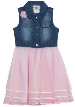 Rare Editions Big Girls Ribbon Mesh Dress with Denim top