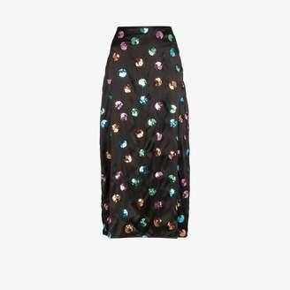 Rixo Kelly sequin polka dot midi skirt