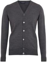 John Smedley Burley Charcoal Fine Knit Merino Wool Cardigan