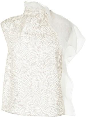 Brunello Cucinelli Embroidered Sheer Silk Blouse
