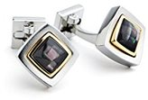 Ike Behar Men's Diamond Shape Two-Tone Cufflinks with Mosaic Mop