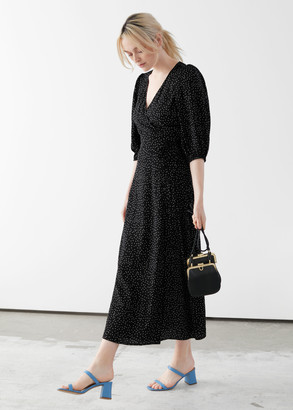 And other stories Printed Puff Sleeve Midi Wrap Dress