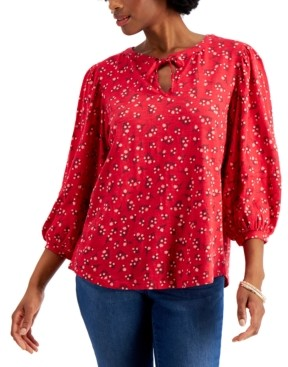 Style&Co. Style & Co Cotton Puff-Sleeve Peasant Top, Created for Macy's