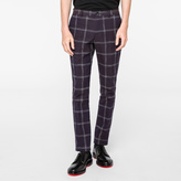 Paul Smith Men's Slim-Fit Navy Windowpane Oxford-Cotton Trousers