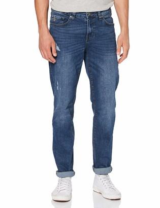 Izod Jeans for Men - Mid Blue Destroyed Slim Straight Denim