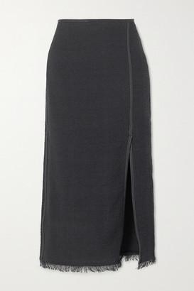 Nanushka Moja Vegan Leather-trimmed Cotton-blend Boucle Midi Skirt - Black