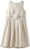 Us Angels Jacquard Dress With Flower Trim (Little Kids/Big Kids) (Silver) - Apparel