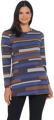 Denim & Co. Striped Perfect Jersey Round Neck Long Sleeve Tunic