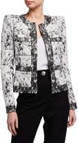 Balmain Collarless Cracked Jersey Jacket