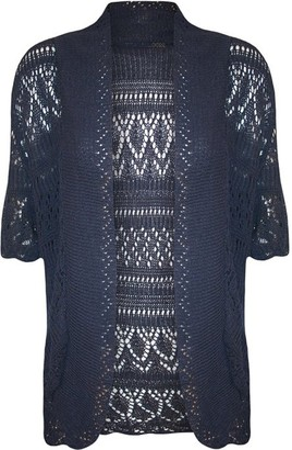 Fashion Mark FashionMark Plus Size Women's Crochet Knitted Shrug Cardigan - Blue - 16-18