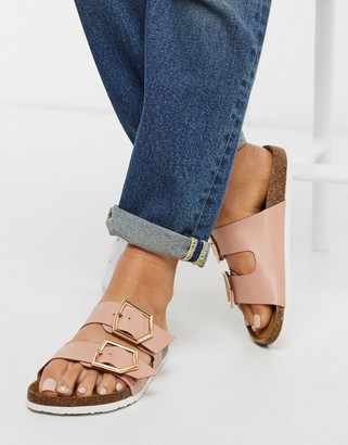New Look double strap flat sandals in pink