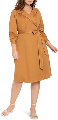 ELOQUII Trench Style Long Sleeve Midi Wrap Dress