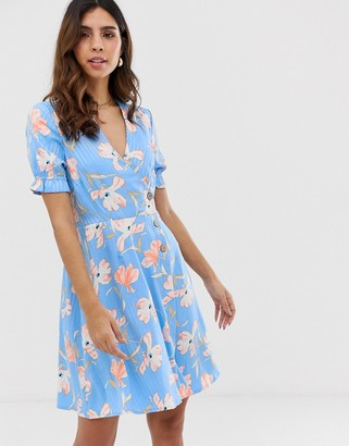 Vero Moda floral stripe tea mini dress