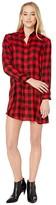 BB Dakota Squared Up Yarn-Dyed Rayon Buffalo Plaid Shirtdress (Bright Red) Women's Dress