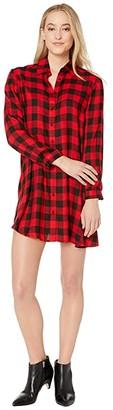BB Dakota Squared Up Yarn-Dyed Rayon Buffalo Plaid Shirtdress