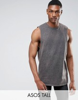 Asos TALL Longline Sleeveless T-Shirt With Extreme Dropped Armhole In Acid Wash Gray