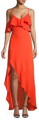 BCBGMAXAZRIA Ruffled Asymmetrical-Hem Gown