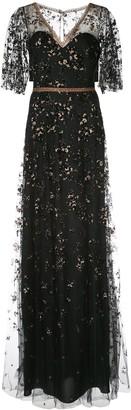 Marchesa Metallic Floral Gown