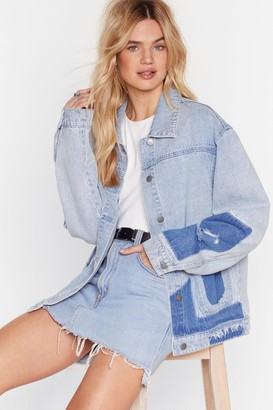 Nasty Gal Womens What's the Patch Distressed Denim Jacket - Blue