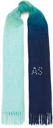 Acne Studios Kelow Dye Fringed Embroidered Brushed Knitted Scarf