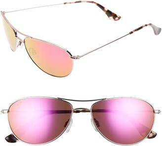 Maui Jim Baby Beach 56mm Mirrored PolarizedPlus2(R) Aviator Sunglasses
