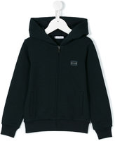 Dolce & Gabbana zip-up hooded sweatshirt - kids - Cotton/Calf Leather/zamac - 2 yrs