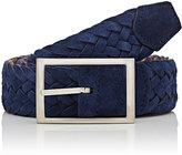 Simonnot Godard Men's Reversible Suede & Knit Belt-NAVY