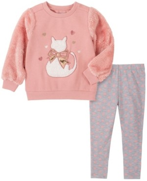 Kids Headquarters 2 Piece Toddler Girls Fleece with Faux Fur Sleeve Cat Top and Hearts Legging Set