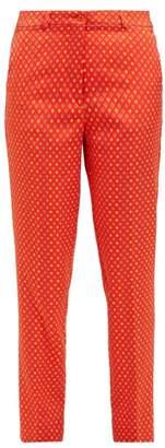 Etro Diamond-jacquard Capri Trousers - Womens - Orange Multi