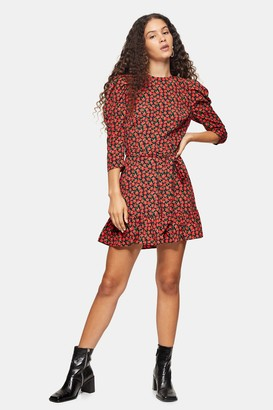 Topshop Womens Red Grunge Rose Mini Dress - Red
